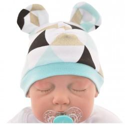 CZAPECZKA dla noworodka SMERFETKA z uszkami trójkąty mięta *1