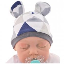 CZAPECZKA dla noworodka SMERFETKA z uszkami trójkąty grafit brokat *1