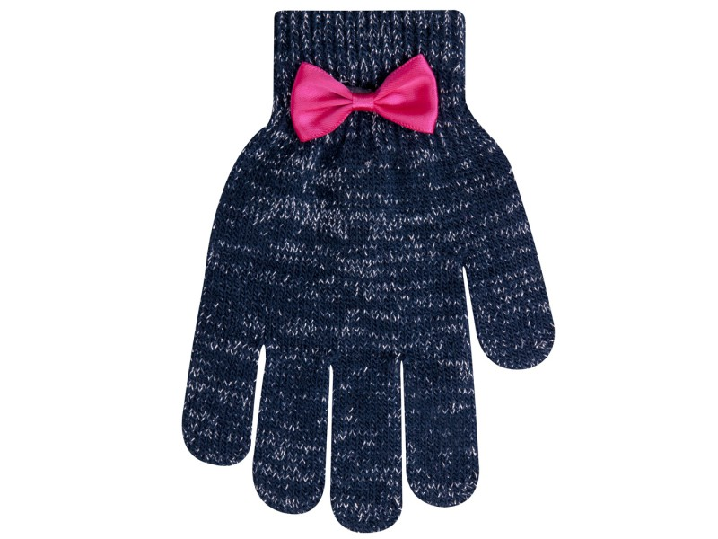 Granatowe rękawiczki dziewczęce 5P błyszczące z kokardą