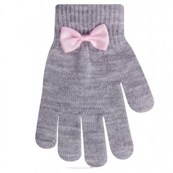 Szare rękawiczki dziewczęce 5P błyszczące z kokardą
