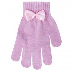 Różowe rękawiczki dziewczęce 5P błyszczące z kokardą
