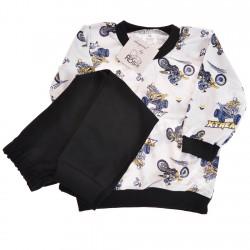 Szaro-czarna PIŻAMA w motory piżamka długi rękaw