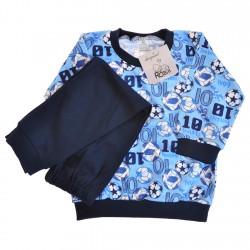 Niebiesko-granatowa PIŻAMA w piłki piżamka długi rękaw