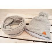 Szary komplet chłopięcy na zimę czapka + komin r.50