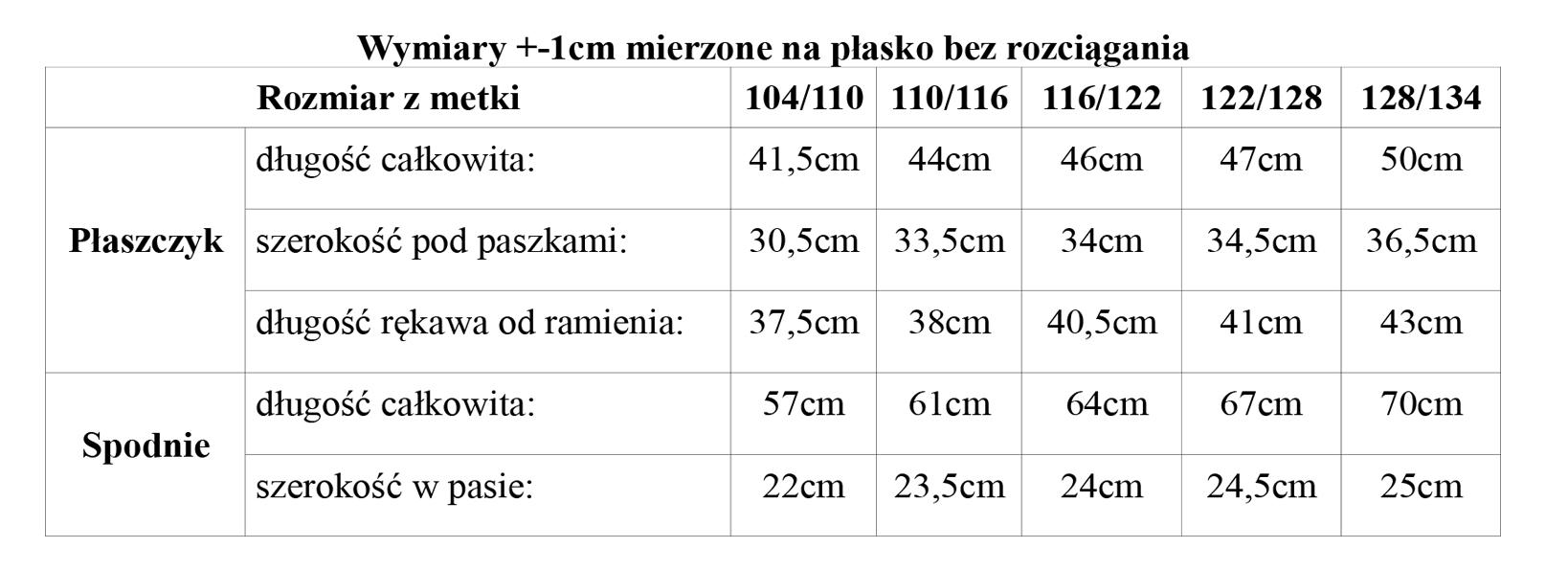 tabela_wymiarow_komplet_dziewczecy_plaszczyk_spodnie_jeans